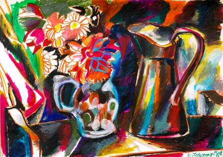 18 Едмонд Демерджиян - Натюрморт с кана и цветя