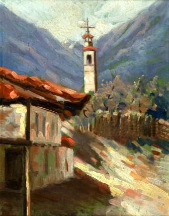 38 Кочо Гърнев - Селски пейзаж с кула