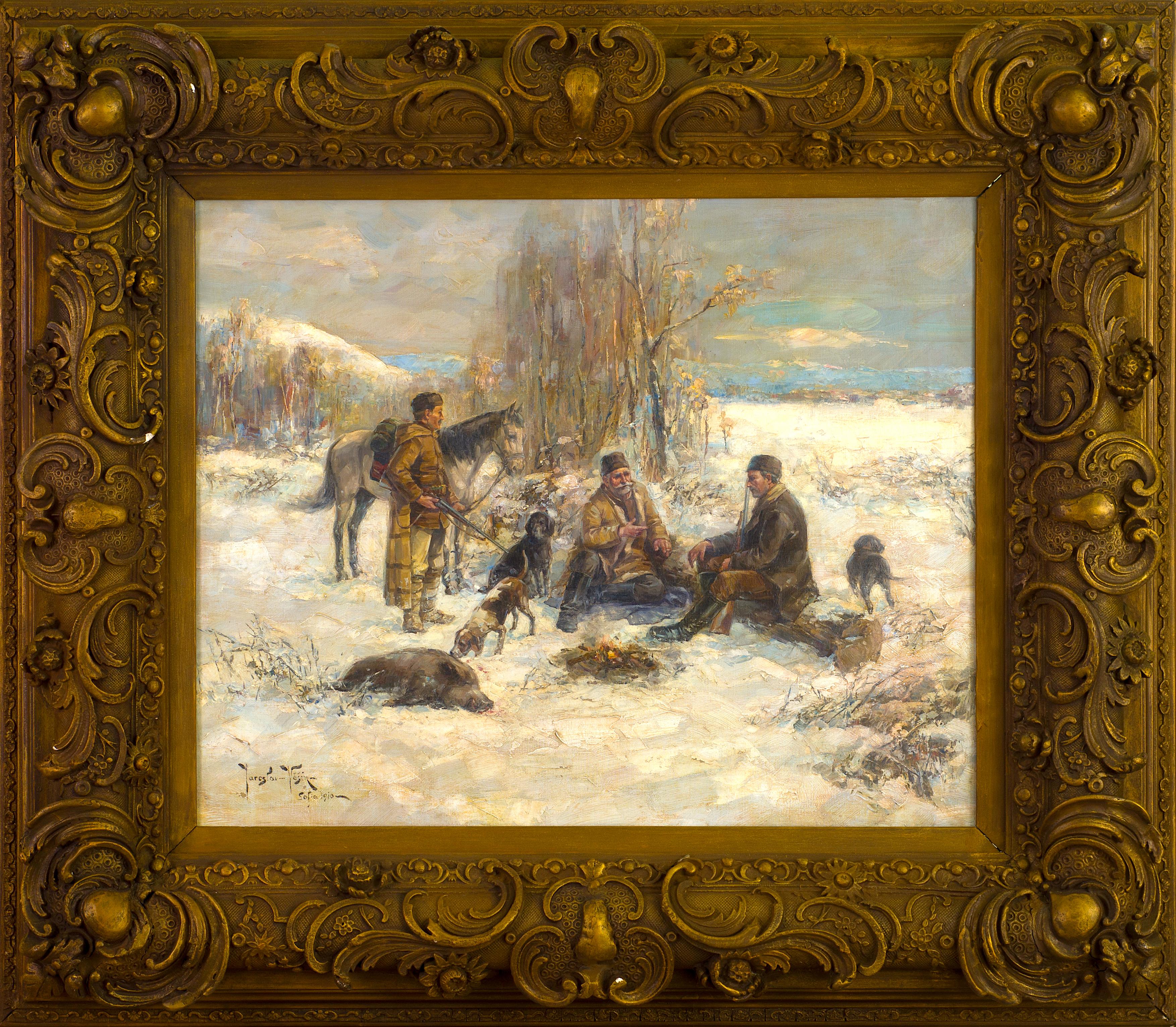 След лов, 1910г, София, м.б./пл., 56х69см