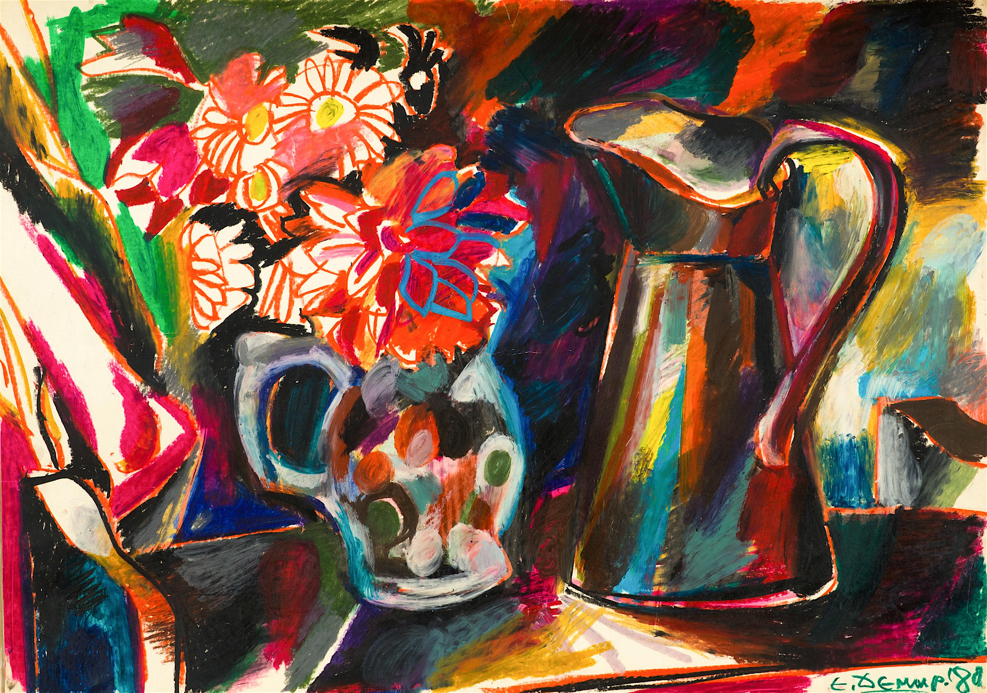 Едмонд Демирджиян - Натюрморт с кана и цветя, 1980