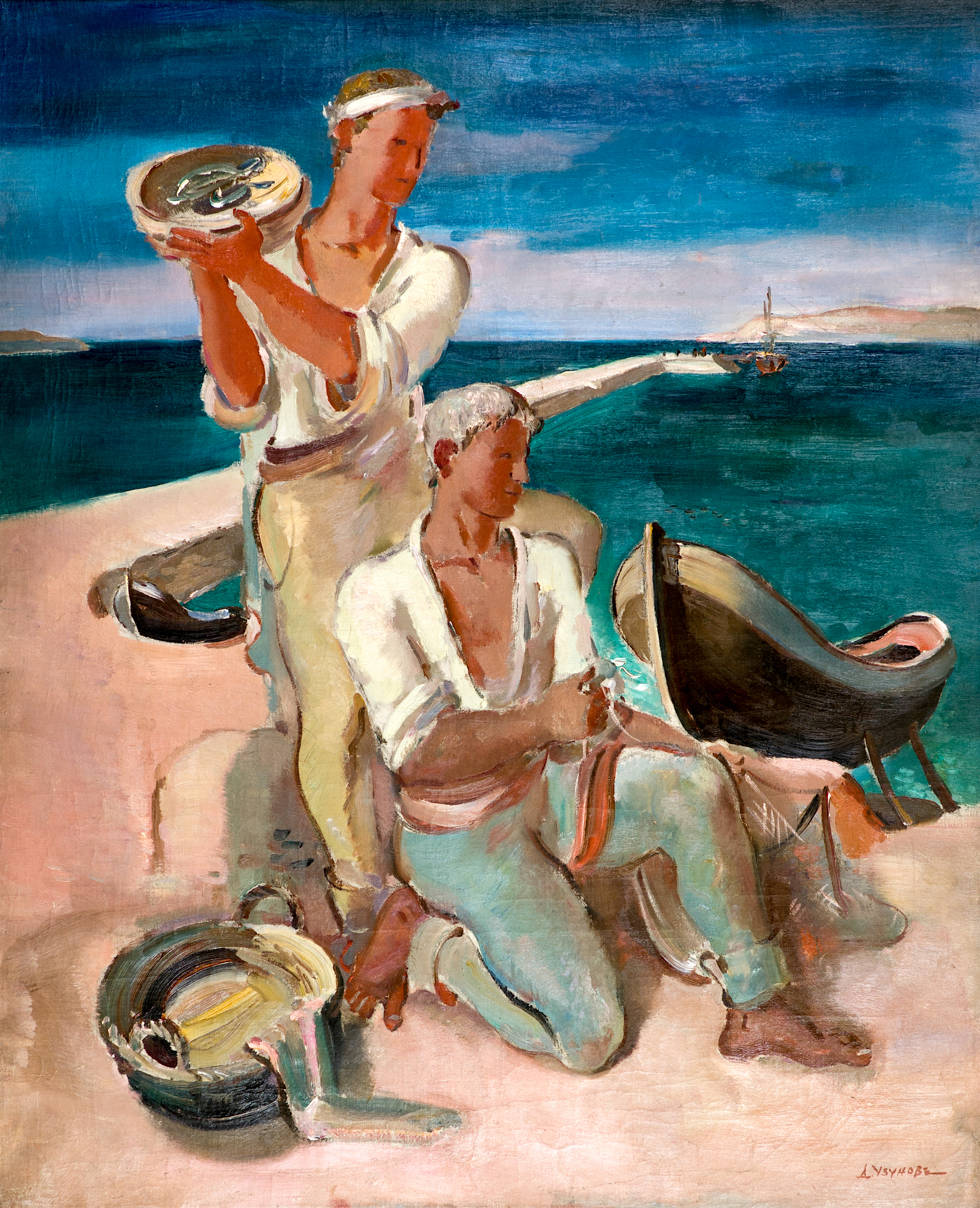 Дечко Узунов, Рибари (Le Marines-Pechers), 1938/1942г, м.б./пл., 100х81cm, Подпис, Монографирана, Многократни изложби