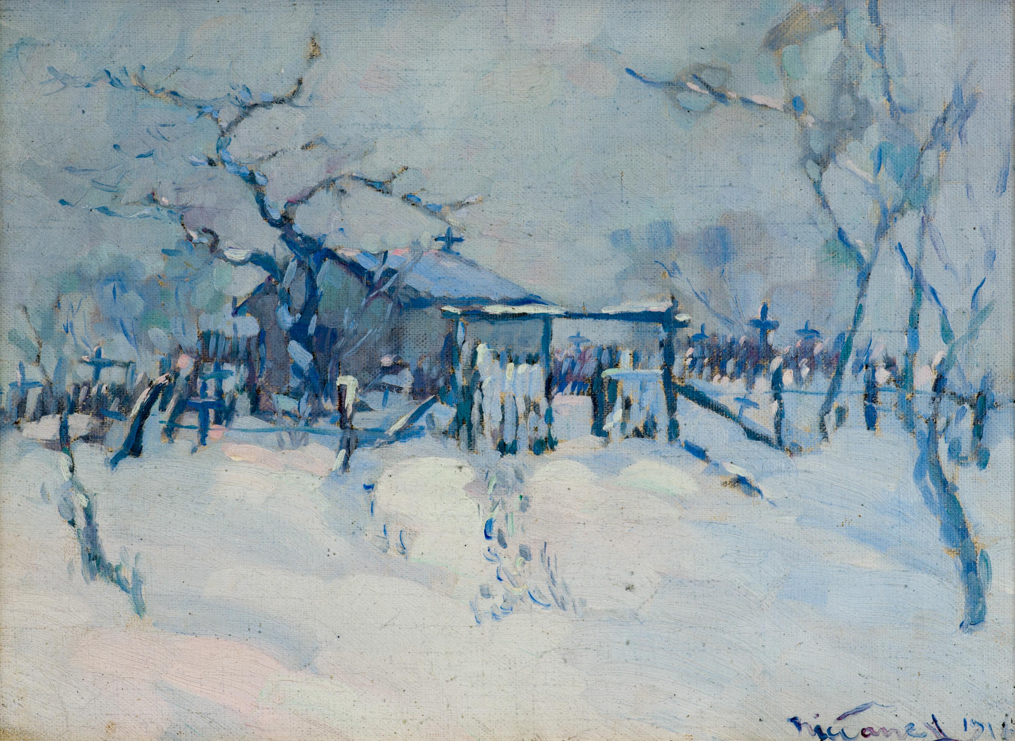 """Никола Танев, """"Снежен пейзаж"""", 1919г., м.б./пл., 245х335mm, подпис и дата"""