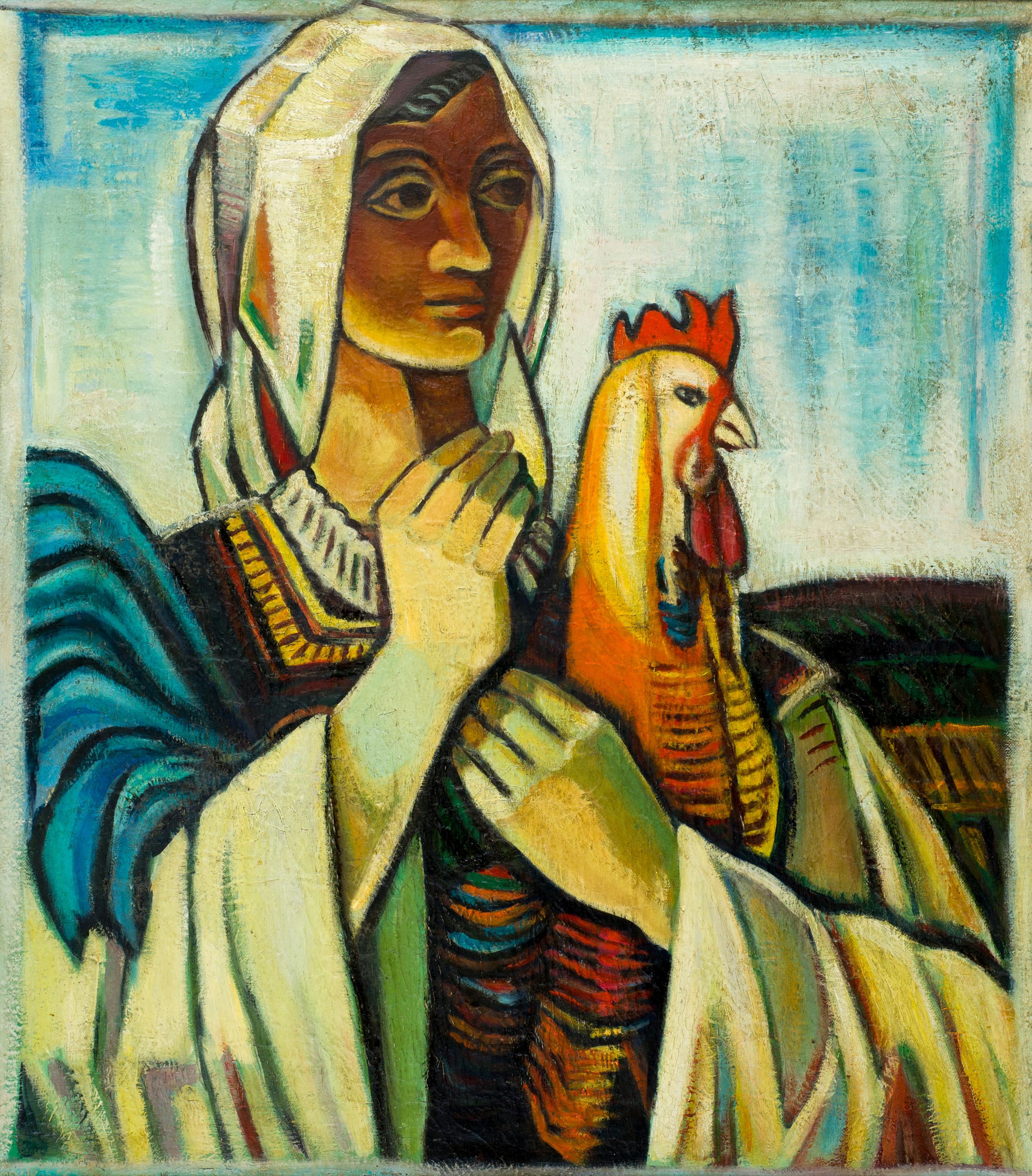 Бенчо Обрешков, Жена с петел, вероятно 1962г., м.б./пл., 74х65cm