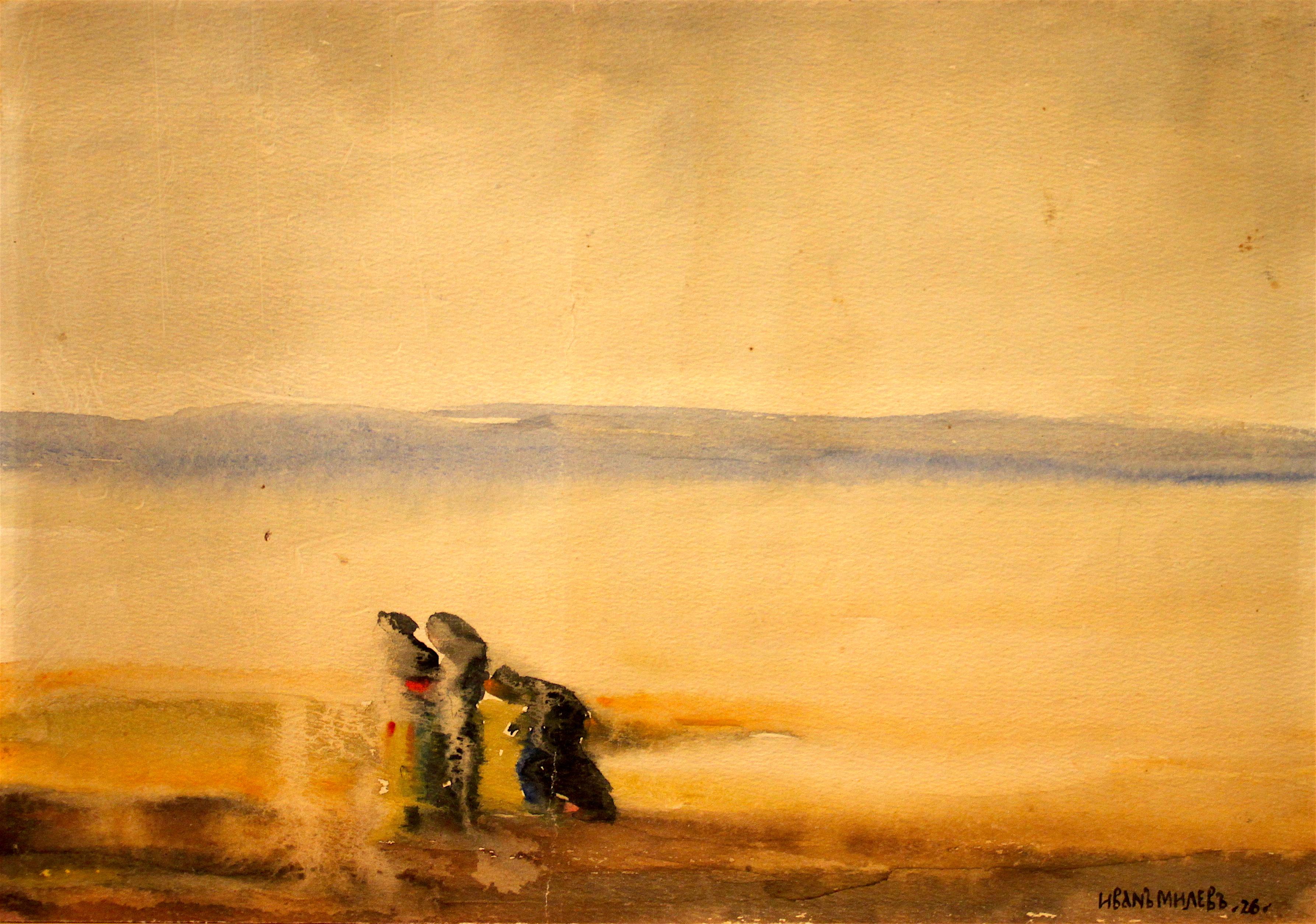 """Иван Милев, """"Бежанци"""", 1926г., авт.т-ка, 210х195mm, Подпис и дата. Монографирана"""